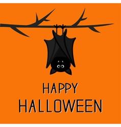 Happy halloween card cute bat hanging on tree vector