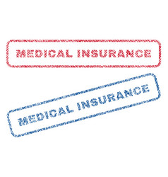 Medical insurance textile stamps vector