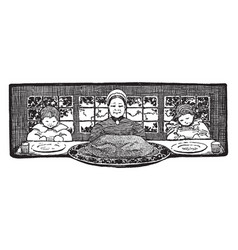 Mother children at table with turkey vintage vector