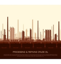 Oil and gas refinery at sunset vector image vector image