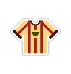 Paper sticker on white background football t-shirt vector