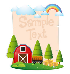 Paper template with red barn and hay vector