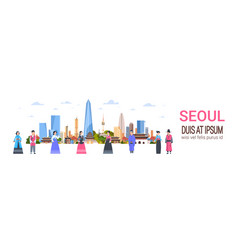 People in traditional korean costumes over seoul vector