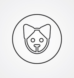 puppy outline symbol dark on white background logo vector image