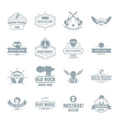 Rock music logo icons set simple style vector