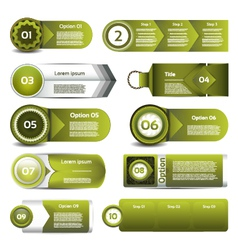 Set of green progress version step icons eps 10 vector image vector image