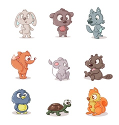 set of small forest dwellers vector image vector image