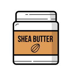 Shea butter jar with nuts logo background isolated vector