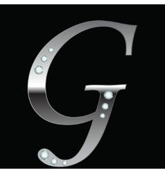 silver metallic letter G vector image