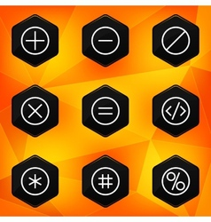 Symbol hexagonal icons set on abstract orange vector