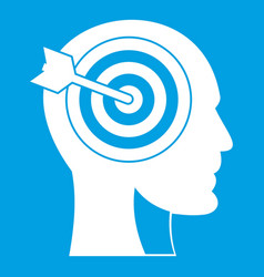 Target in human head icon white vector