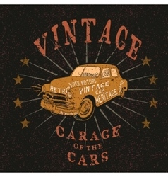 Vintage label with retro car vector
