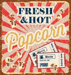 Vintage style poster with popcorn vector image