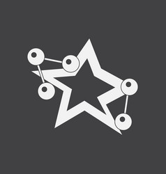 White icon on black background molecules and star vector