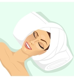 woman lying with closed eyes in spa vector image vector image