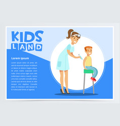 Woman pediatrician giving boy injection in arm vector