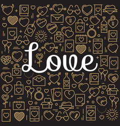 Word love surrounded by icons and hearts vector