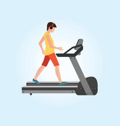 young adult man running on treadmill vector image vector image