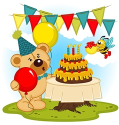 Teddy bear celebrates birthday vector