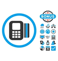 Card processor flat icon with bonus vector