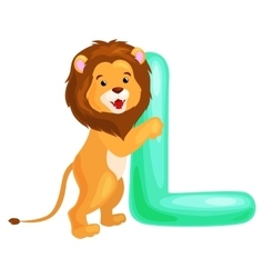 Letter l with lion animal for kids abc education vector