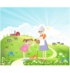 Dairy farm in the summer landscape vector