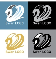 Set swans logo design template vector