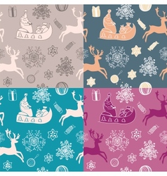 Funny winter christmas set of 4 seamless patterns vector