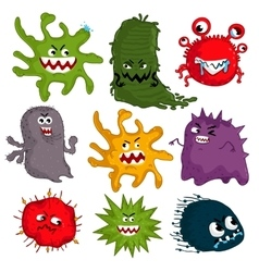 Cartoon viruses characters isolated vector