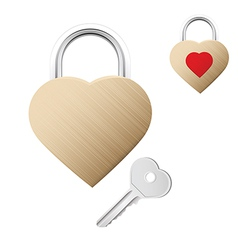 Realistic looking gold lock shaped as heart vector