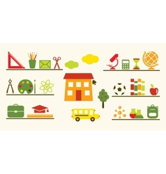 Multicolored school objects set vector
