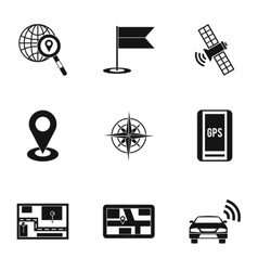 Location icons set simple style vector