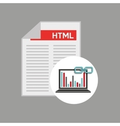 Laptop document code graphs link web vector