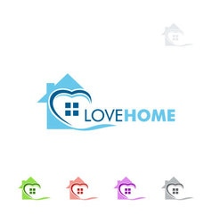 Real estate logo design with love and home vector