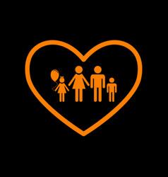 family sign in heart shape orange vector image