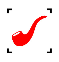 Smoke pipe sign  red icon inside black vector