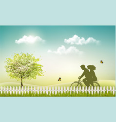 Spring nature meadow landscape with a bicycle and vector