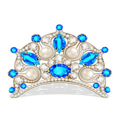 Beautiful diadem feminine wedding with pearl vector