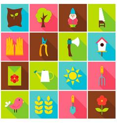 Spring garden colorful icons vector