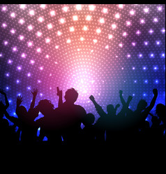 Party crowd on disco lights background vector