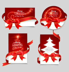 Gift cards with red bows vector