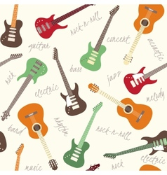 Seamless pattern with guitars and text vector