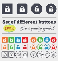 Open padlock icon sign big set of colorful diverse vector