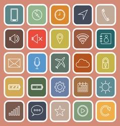 Mobile phone line flat icons on orange background vector image