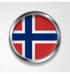 Metal button flag of norway vector