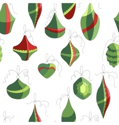 Seamless pattern with christmas decor on white vector