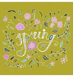 Stylish floral card in bright summer colors vector
