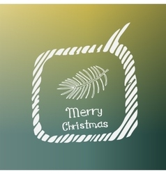 Pine branch white icon doodle christmas vector