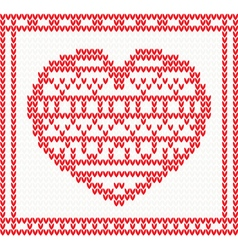 Knitted pattern with red heart vector