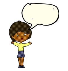 Cartoon worried woman with speech bubble vector